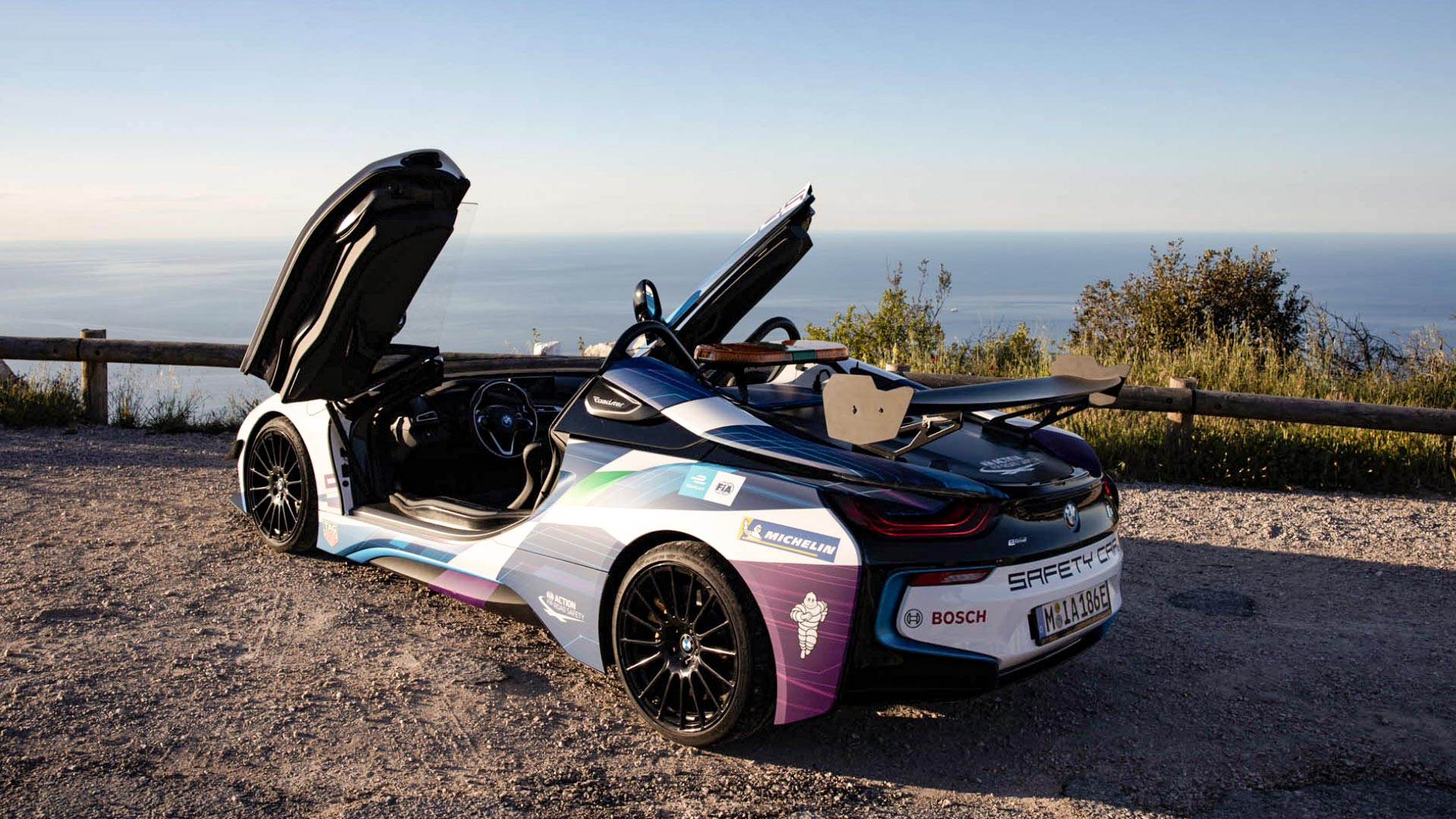 Curtain up for the BMW i8 Roadster Safety Car.