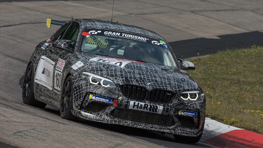 Three-quarters front shot of the BMW M2 CS Racing.