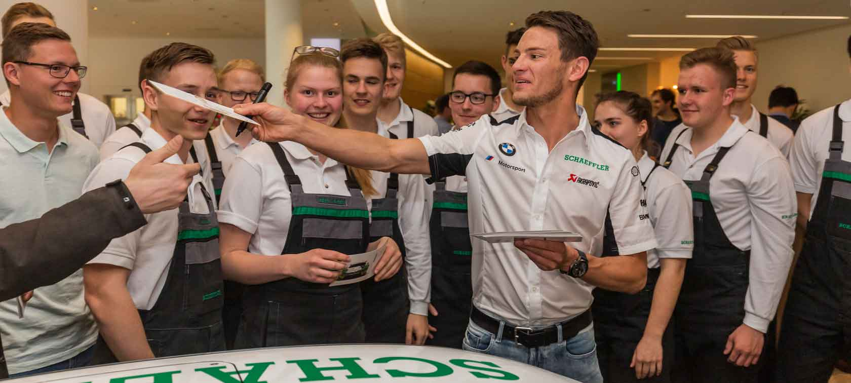 Marco Wittmann visits headquarters of new BMW M Motorsport Premium Partner, Schaeffler.
